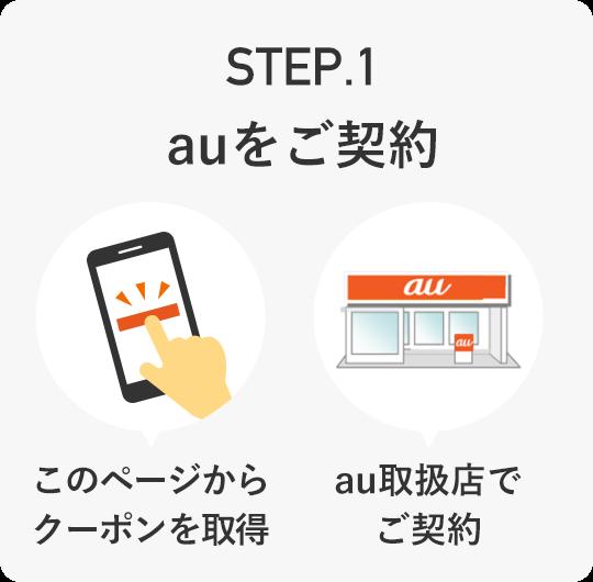 STEP.1 auをご契約 [このページからクーポンを取得][au取扱店でご契約]